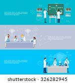 scientist horizontal banner set ... | Shutterstock .eps vector #326282945