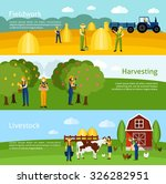 hay harvesting fieldwork and... | Shutterstock .eps vector #326282951