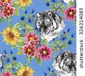 seamless pattern with tigers  ...   Shutterstock . vector #326314085