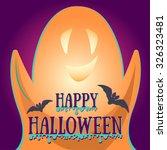 simple happy halloween card ... | Shutterstock .eps vector #326323481