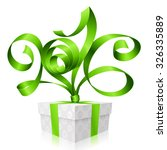 vector green ribbon and gift... | Shutterstock .eps vector #326335889