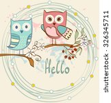 Illustration With Cartoon Owls...