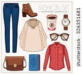 vector stylish fashion set of... | Shutterstock .eps vector #326351681