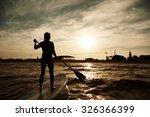 silhouette of young girl... | Shutterstock . vector #326366399