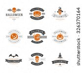 set vintage happy halloween... | Shutterstock .eps vector #326370164