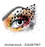grunge eye with stars  makeup... | Shutterstock .eps vector #326387987