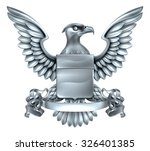 an eagle silver metal shield... | Shutterstock .eps vector #326401385