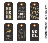 vintage christmas gift tags | Shutterstock .eps vector #326409194