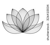 Stock vector beautiful lotus flower line illustration vector abstract black and white floral background 326410034