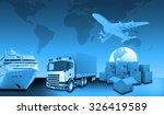 transport with world map and... | Shutterstock . vector #326419589