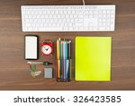 keyboard with office supplies... | Shutterstock . vector #326423585