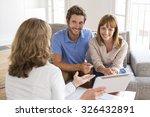 realtor agent presenting a new... | Shutterstock . vector #326432891