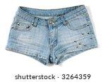 Blue sexy female jeans shorts isolated on white background - stock photo