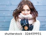 winter portrait of young... | Shutterstock . vector #326459951
