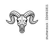 ram skull logo or icon black on ... | Shutterstock .eps vector #326461811