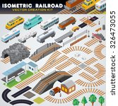 isometric railroad train.... | Shutterstock .eps vector #326473055