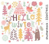 lovely hello winter concept... | Shutterstock .eps vector #326474411