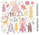 lovely hello winter concept... | Shutterstock .eps vector #326474411