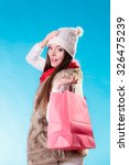 winter woman in warm clothes... | Shutterstock . vector #326475239