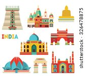 india famous monuments. vector... | Shutterstock .eps vector #326478875