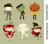 Set Of Halloween Kids. Vector...