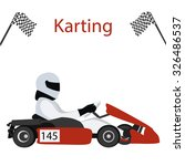 logo karting. man racing on... | Shutterstock .eps vector #326486537