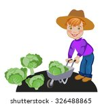 happy farmer luck in... | Shutterstock .eps vector #326488865