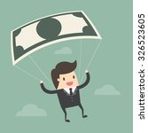 businessman using bank note as... | Shutterstock .eps vector #326523605