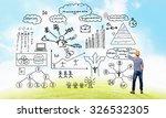 back view of man engineer...   Shutterstock . vector #326532305