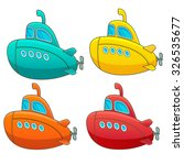 Submarine Icon Set. Four...