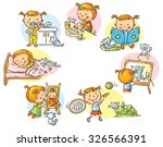 little girl's daily activities  ... | Shutterstock .eps vector #326566391