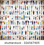 multiethnic casual people... | Shutterstock . vector #326567405