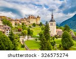 Beautiful view of the medieval town of Gruyeres, home to the world-famous Le Gruyere cheese, canton of Fribourg, Switzerland