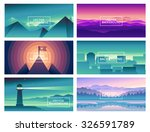 vector abstract landscapes  ... | Shutterstock .eps vector #326591789