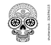 hand drawn skull in zentangle... | Shutterstock .eps vector #326596115