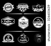 vector set of coffee labels ... | Shutterstock .eps vector #326603639