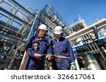 two oil and gas workers with... | Shutterstock . vector #326617061