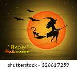 Stock vector beautiful young witch with cat on broom against the background of a orange large moon and yellow 326617259