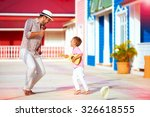 happy family playing music and... | Shutterstock . vector #326618555