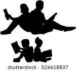 Silhouette Of A Family Reading...