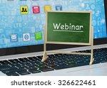 laptop with chalkboard  webinar ... | Shutterstock . vector #326622461