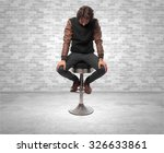 boring young man with bar stool | Shutterstock . vector #326633861