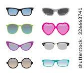 set of different glasses.... | Shutterstock .eps vector #326663741