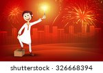 cute boy in traditional dress ... | Shutterstock .eps vector #326668394