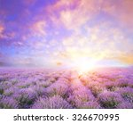 Lavender Field Over Sunser Sky...