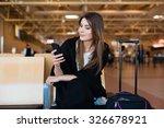 airport young female passenger... | Shutterstock . vector #326678921