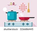 Interior Of Kitchen  Pans On...