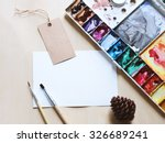 artist workspace mock up with... | Shutterstock . vector #326689241