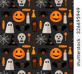 halloween seamless pattern with ... | Shutterstock .eps vector #326695949