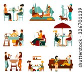 people eating out and an homes... | Shutterstock .eps vector #326701139